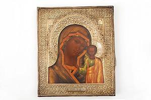 Икона Казанской божьей матери в серебряном окладе